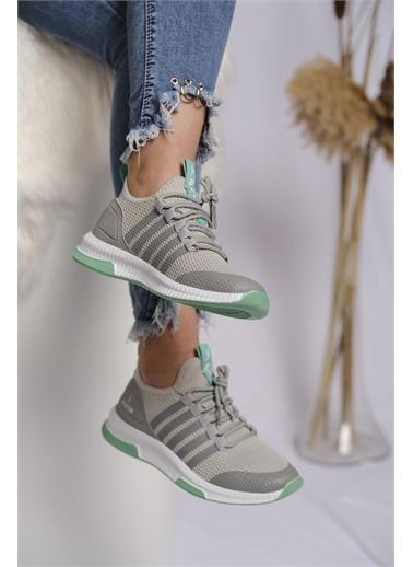 Oksit Axs Jessamy Renk Detaylı Fileli Kalın Taban Kadın Sneaker Gri